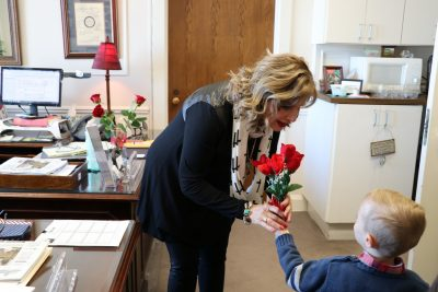Delivering roses to a legislators office