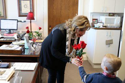 Delivering roses to a legislators office